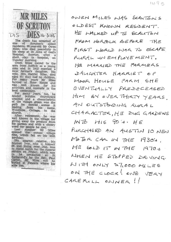 Newspaper article - Mr Miles of Scruton dies